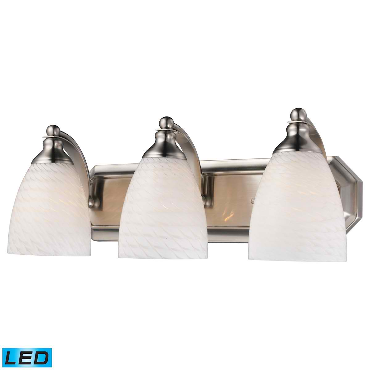 3 Light Vanity in Satin Nickel and White Swirl Glass - LED, 800 Lumens (2400 Lumens Total) with Full Scale