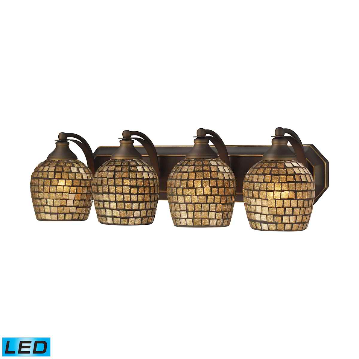 4 Light Vanity in Aged Bronze and Gold Mosaic Glass - LED, 800 Lumens (3200 Lumens Total) with Full Scale