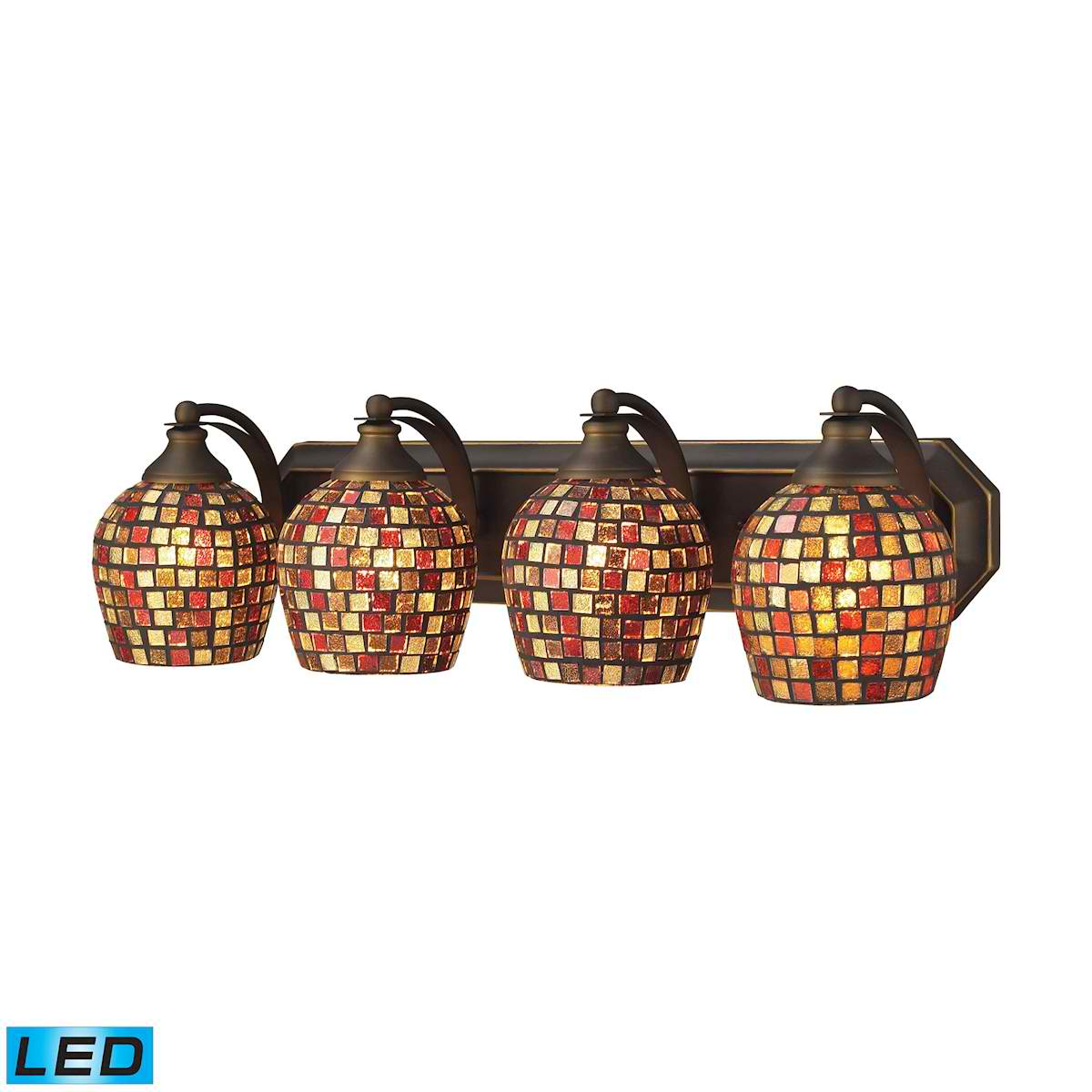 4 Light Vanity in Aged Bronze and Multi Mosaic Glass - LED, 800 Lumens (3200 Lumens Total) with Full Scale
