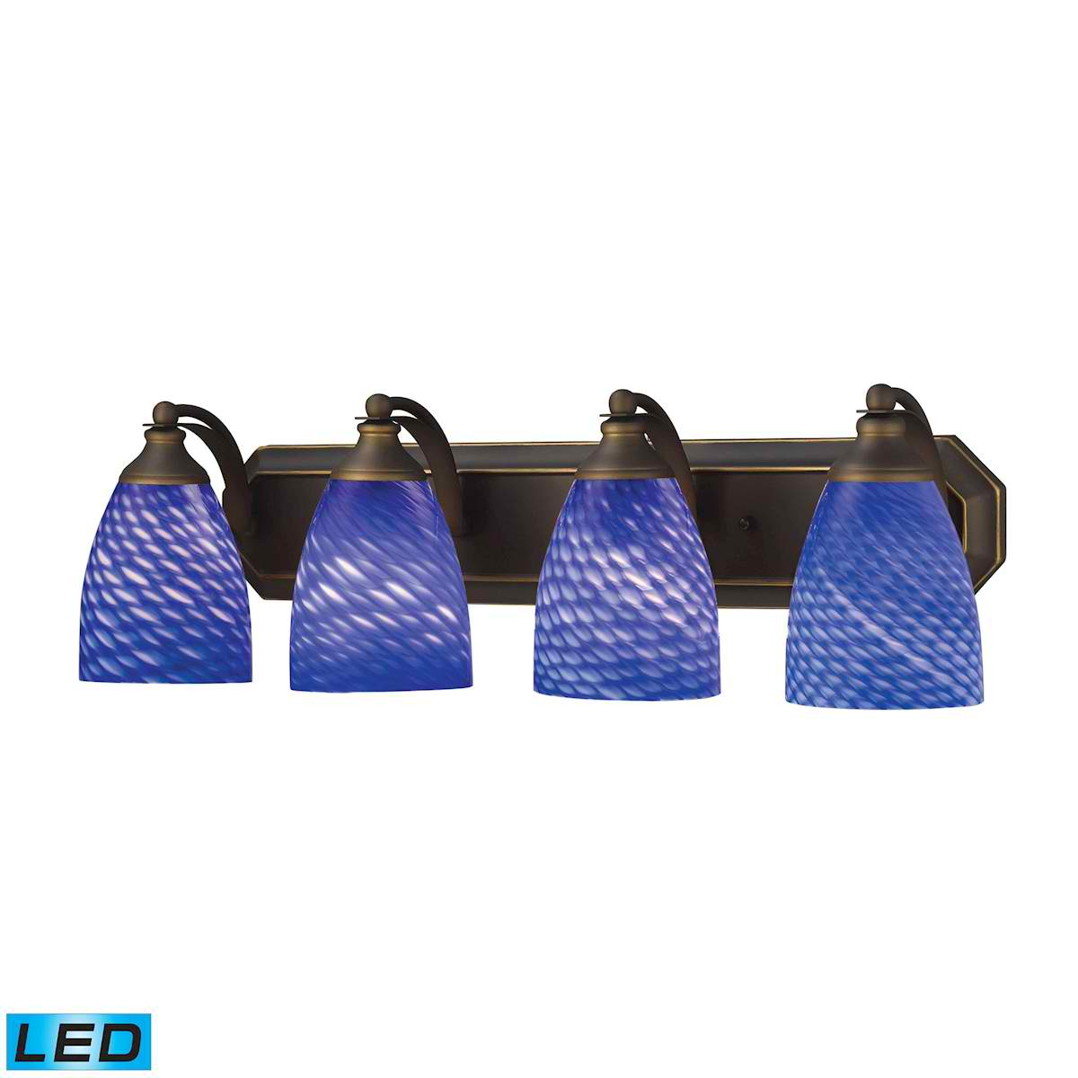 4 Light Vanity in Aged Bronze and Sapphire Glass - LED, 800 Lumens (3200 Lumens Total) with Full Scale