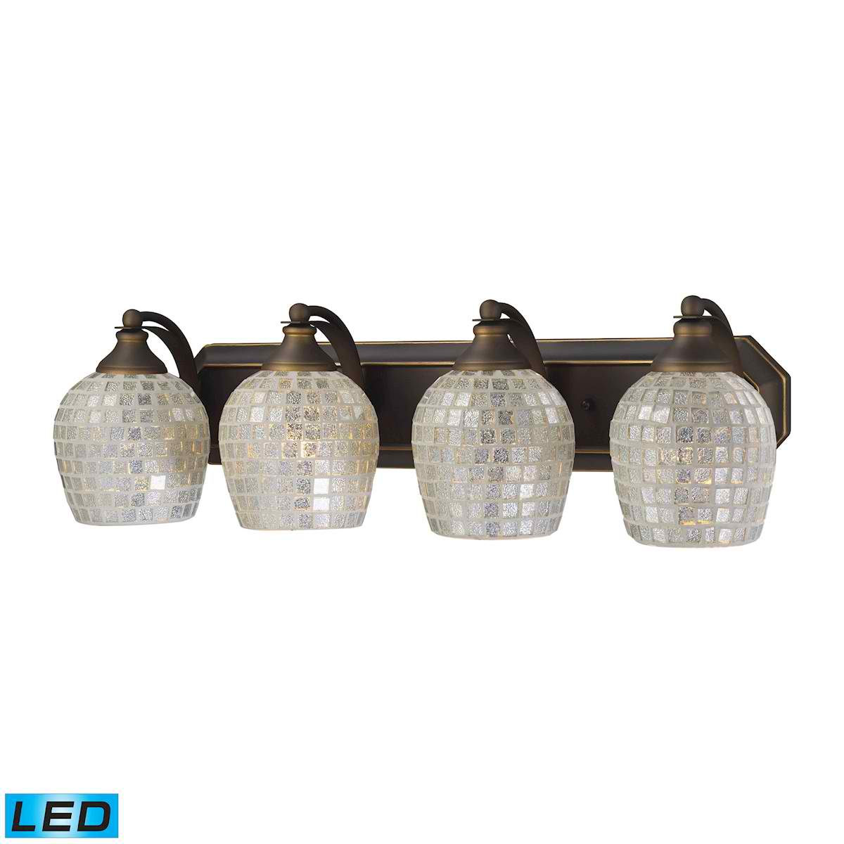4 Light Vanity in Aged Bronze and Silver Mosaic Glass - LED, 800 Lumens (3200 Lumens Total) with Full Scale