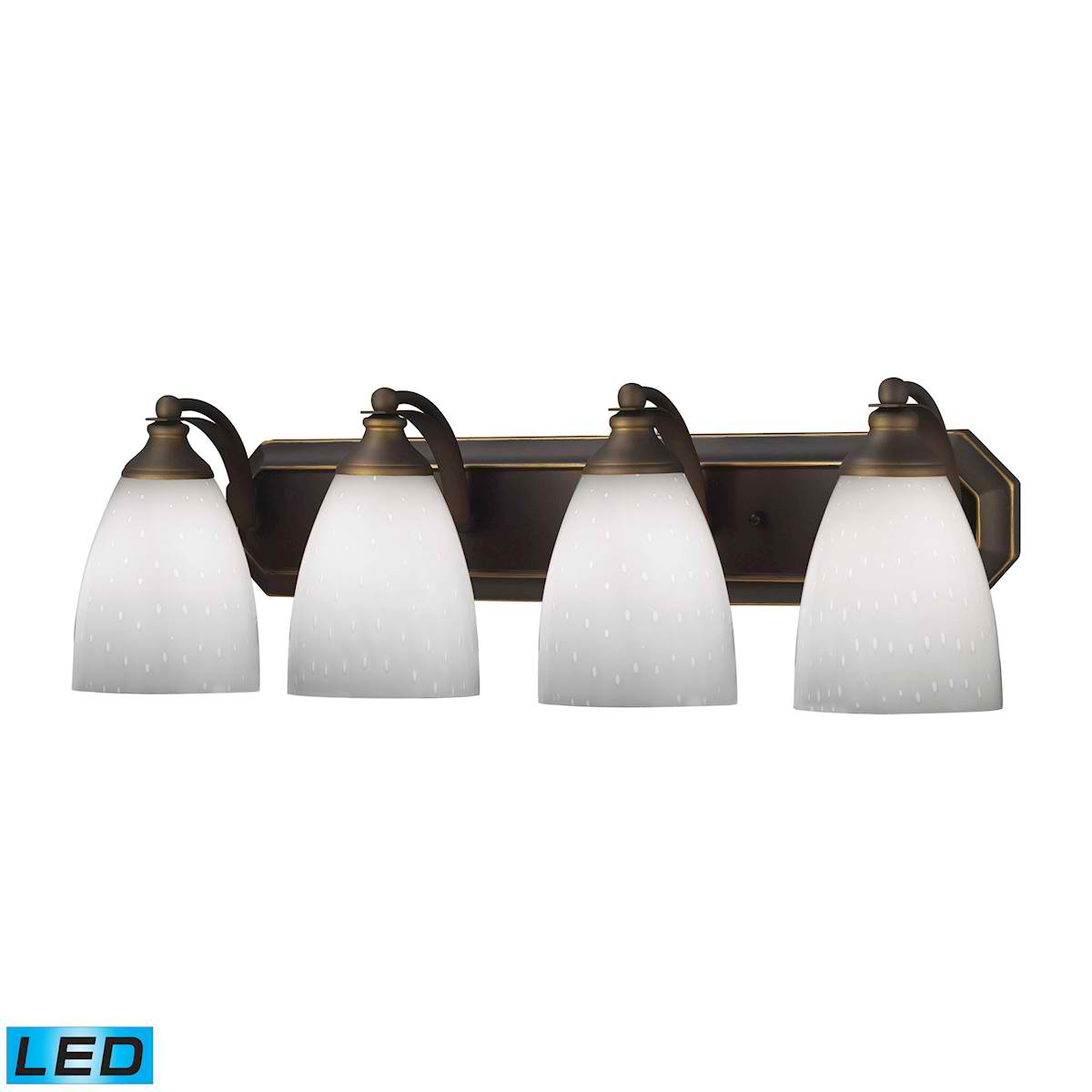 4 Light Vanity in Aged Bronze and Simply White Glass - LED, 800 Lumens (3200 Lumens Total) with Full Scale
