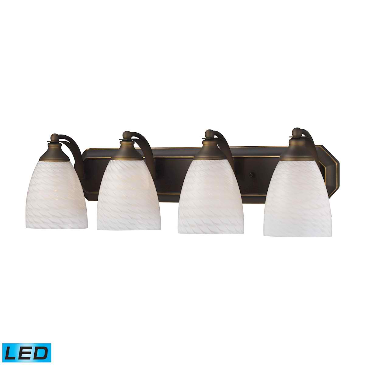 4 Light Vanity in Aged Bronze and White Swirl Glass - LED, 800 Lumens (3200 Lumens Total) with Full Scale