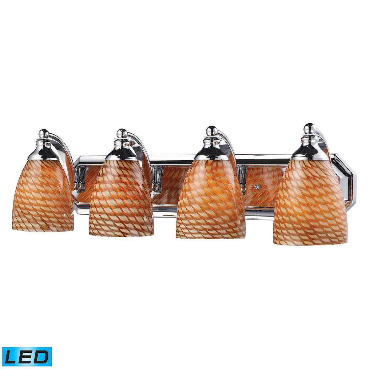 4 Light Vanity in Polished Chrome and Coco Glass - LED, 800 Lumens (3200 Lumens Total) with Full Scale
