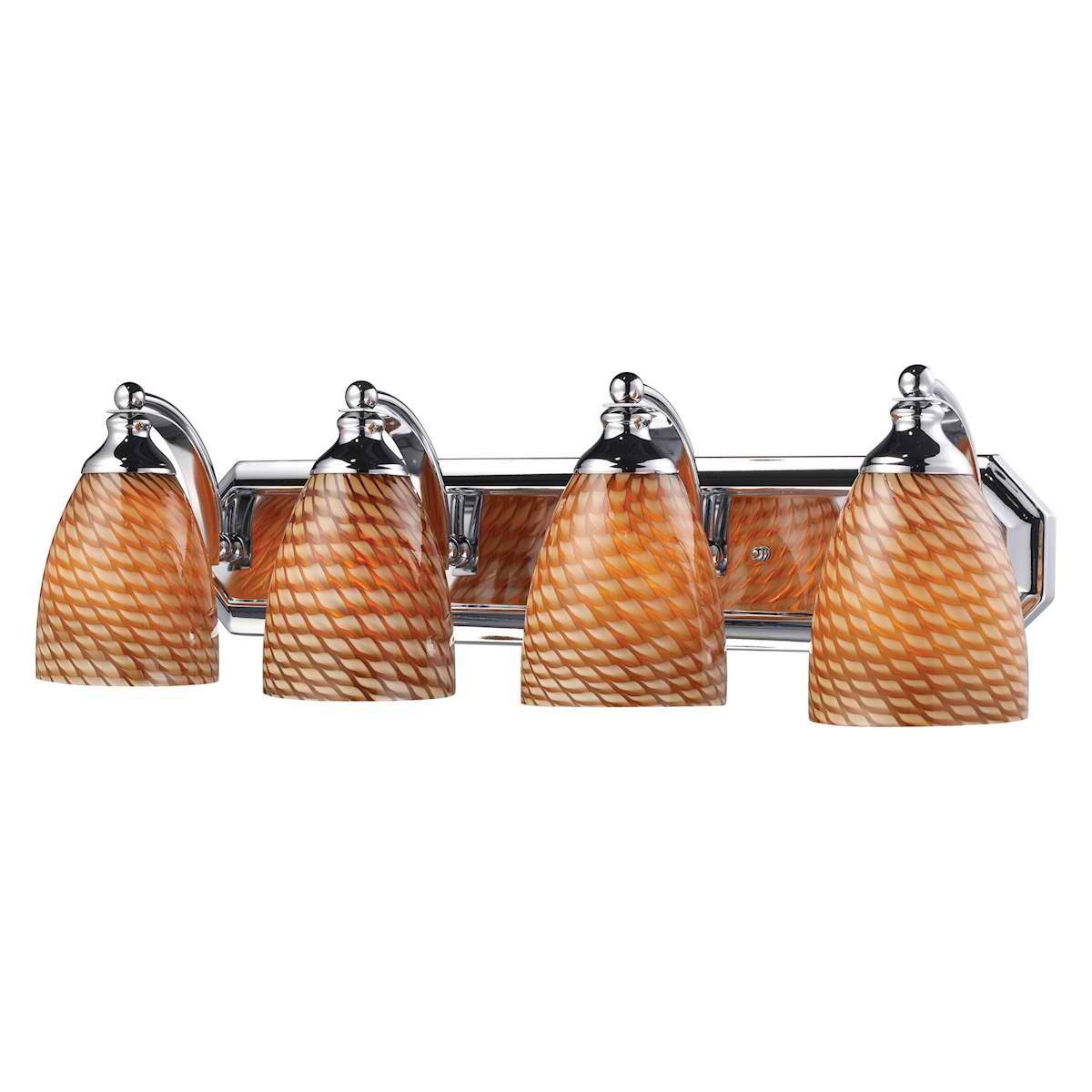 Vanity 4 Light Chrome with Cocoa Glass
