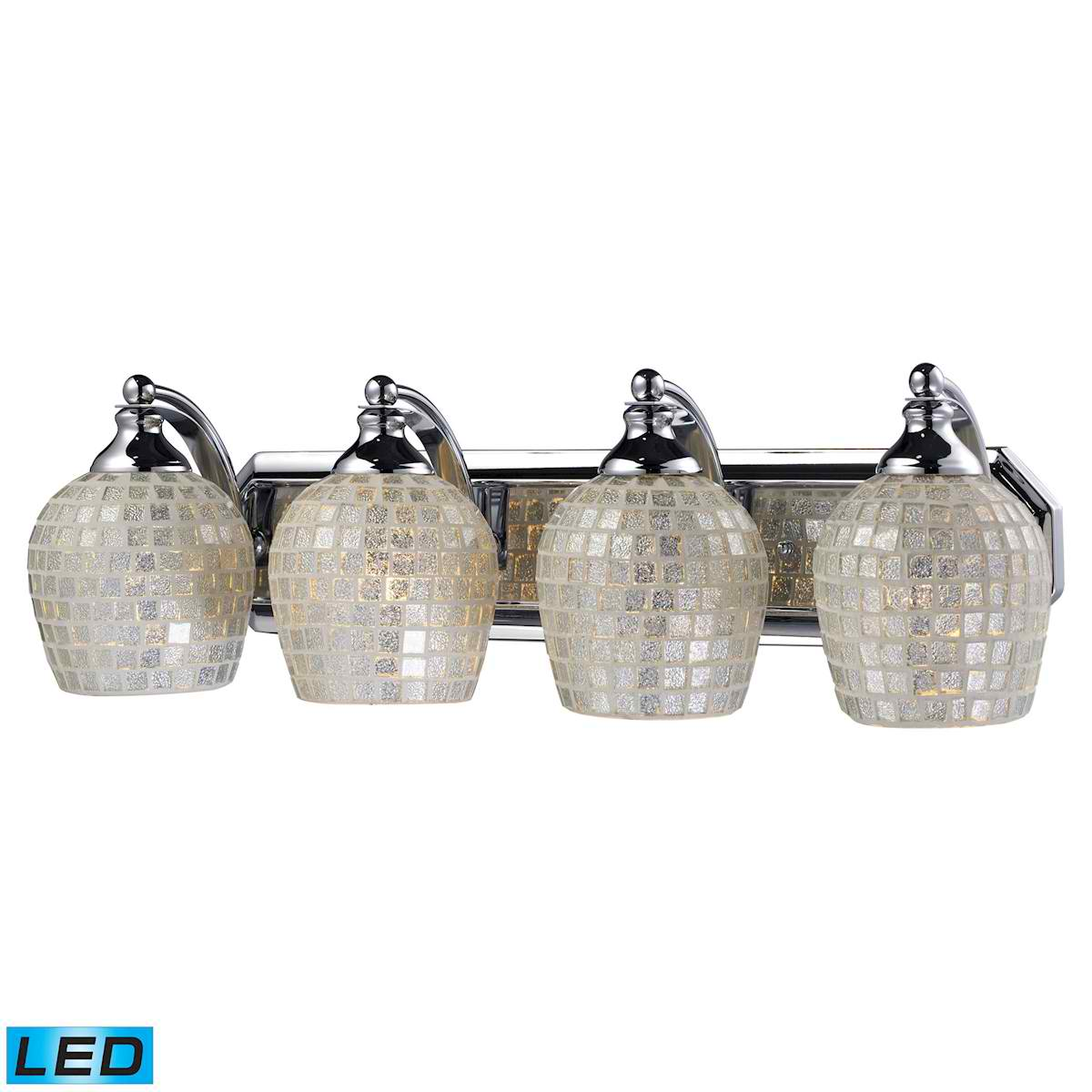 4 Light Vanity in Polished Chrome and Silver Mosaic Glass - LED, 800 Lumens (3200 Lumens Total) With Full Scale