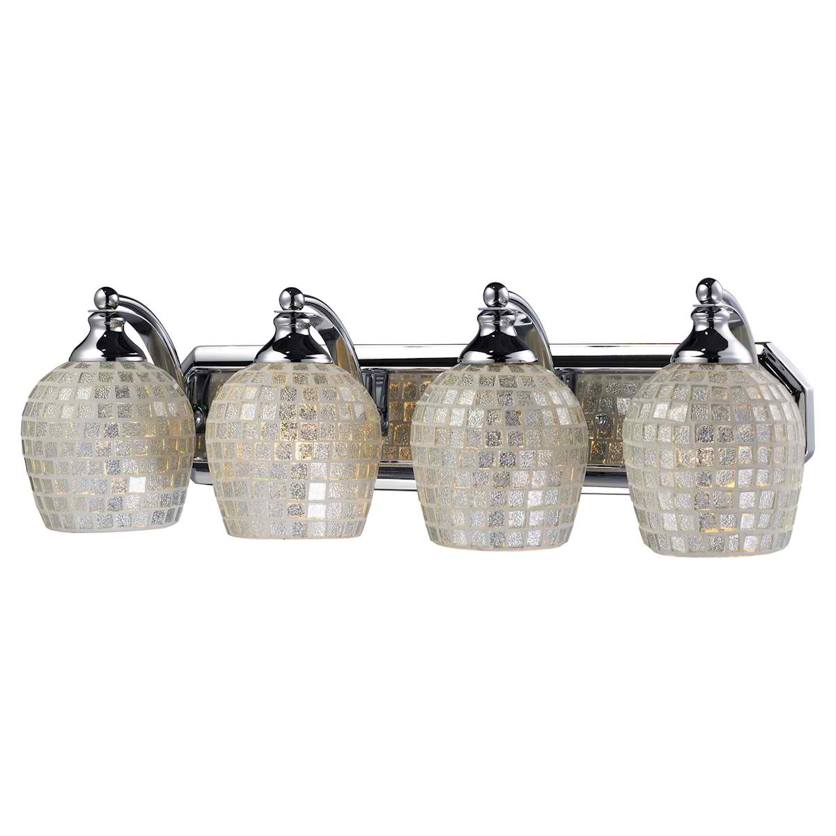 Vanity 4 Light Chrome with Silver Glass