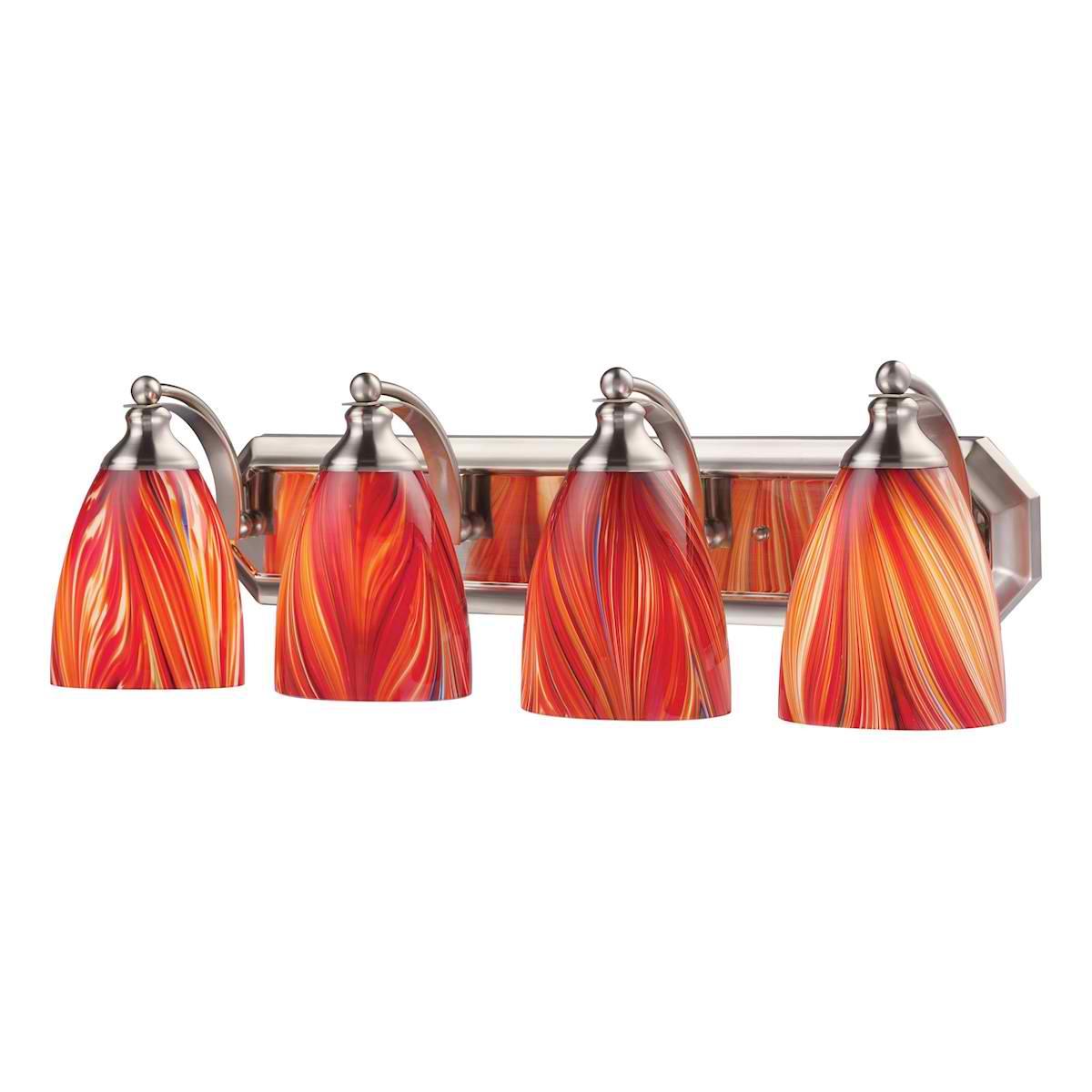 Vanity 4 Light Satin Nickel with Multi Glass