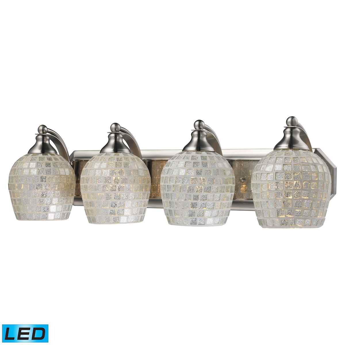 4 Light Vanity in Satin Nickel and Silver Mosaic Glass - LED, 800 Lumens (3200 Lumens Total) with Full Scale