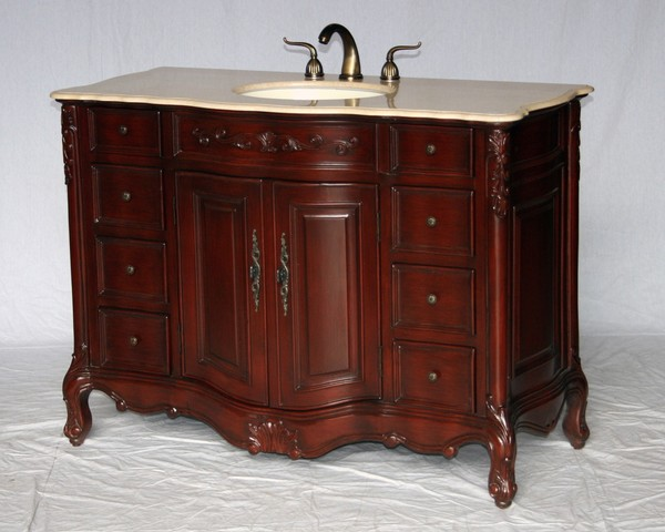 "48"" Adelina Antique Style Single Sink Bathroom Vanity in Cherry Finish with Beige Stone Countertop and Oval Bone Porcelain Sink"
