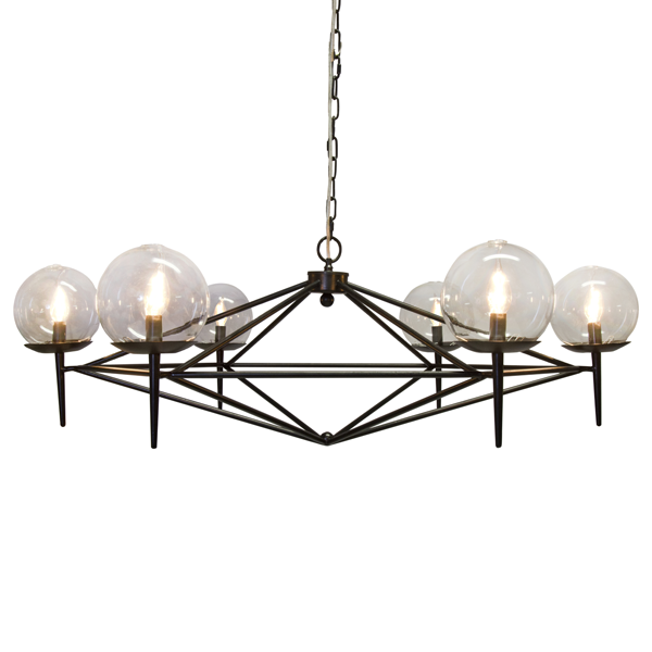 Chandelier with Hand Blown Glass Globes - 2 Finish Options