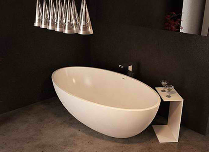 Whirlpools 37 x 67 Artificial Stone Freestanding Bathtub