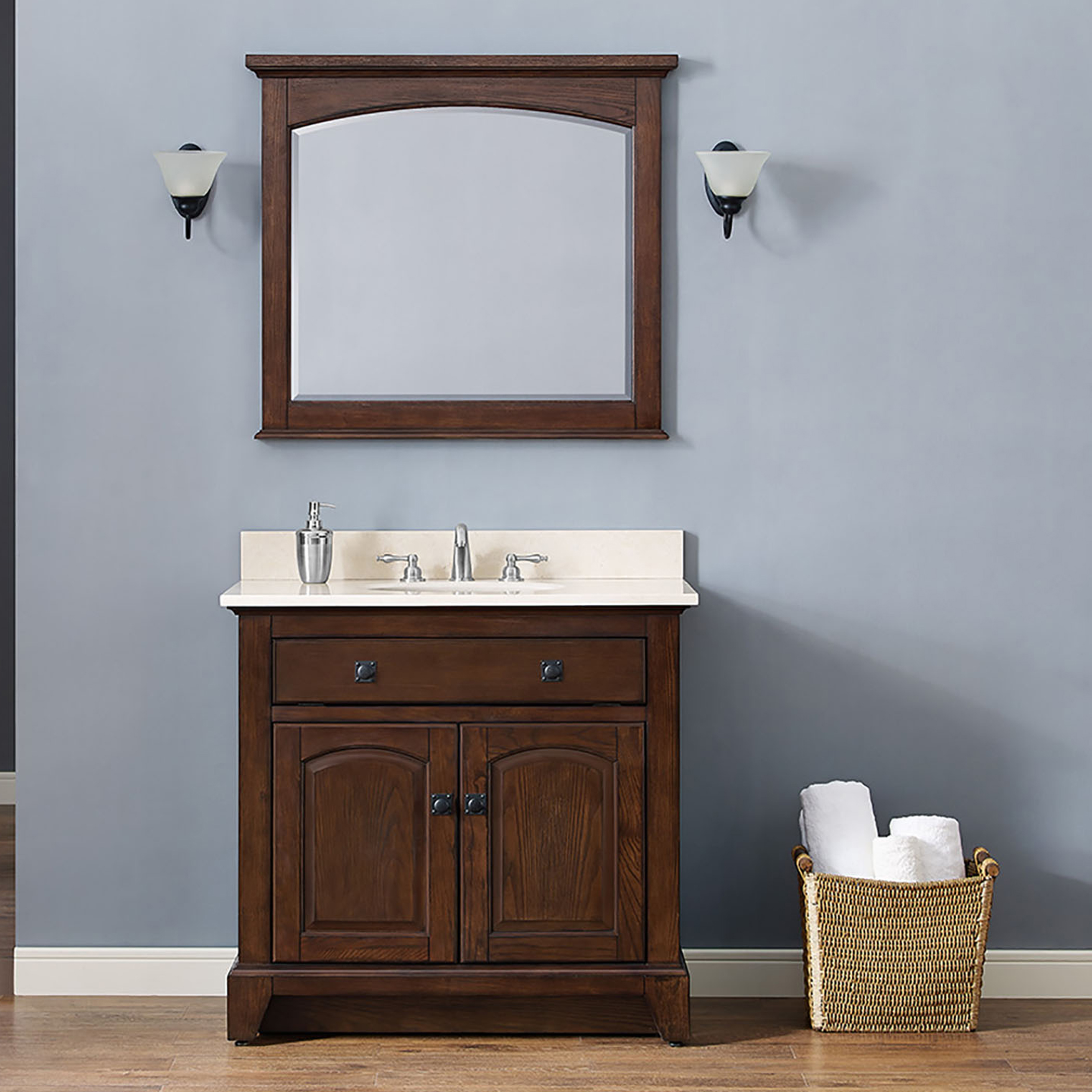 "36"" Traditional Bathroom Vanity - English Chestnut Finish with Top and Mirror Options"