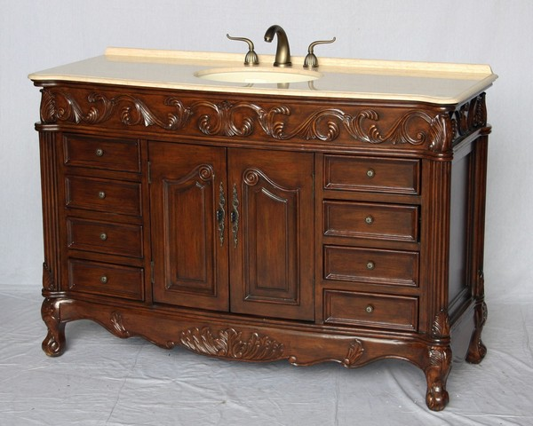 "60"" Adelina Antique Style Single Sink Bathroom Vanity in Walnut Wooden Cabinet Finish with Beige Stone Countertop"