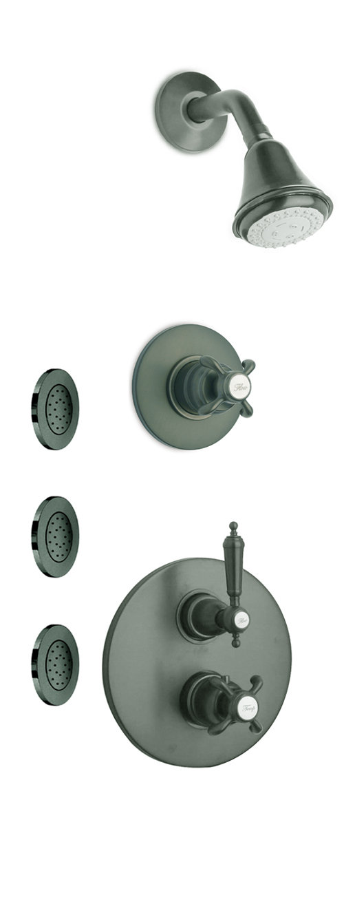 "Thermostatic Shower With 3/4"" Ceramic Disc Volume Control, 3-Way Diverter and 3 Concealed Body Jets in 3 Color Options"