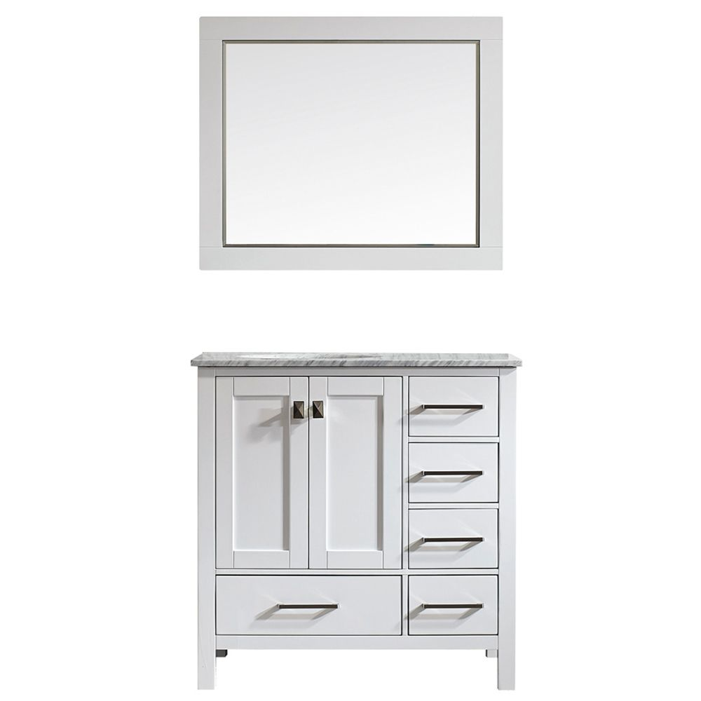 "36"" Single Vanity in White with Carrara White Marble Countertop With Mirror"