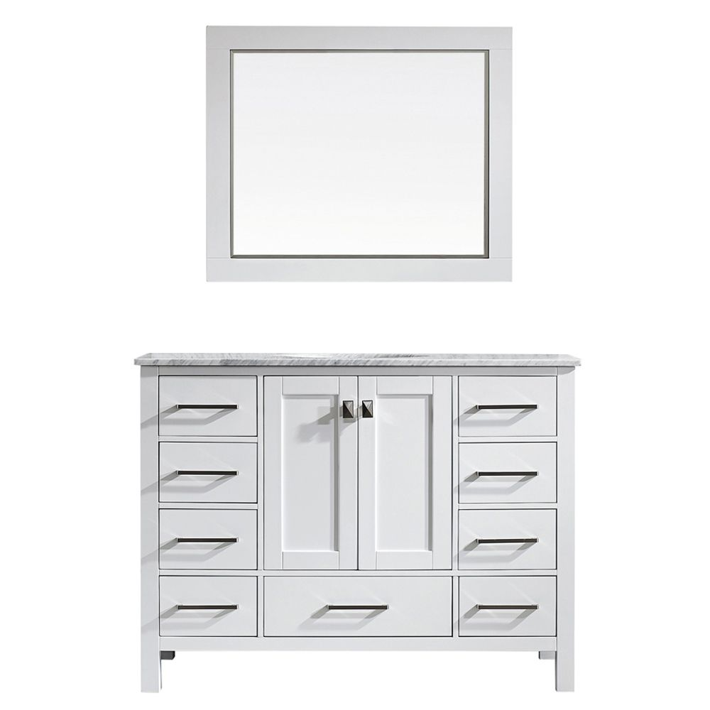 "48"" Single Vanity in White with Carrara White Marble Countertop With Mirror"