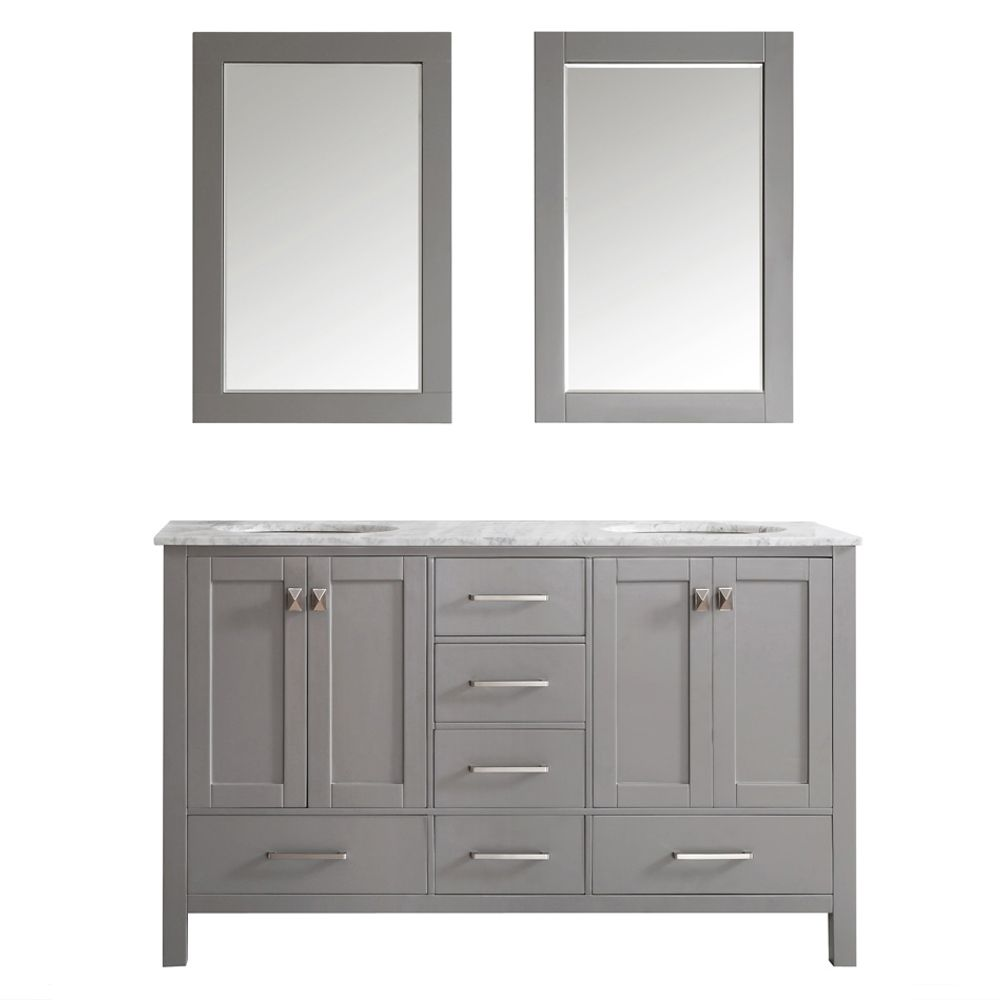"""60"""" Vanity in Grey with Carrara White Marble Countertop With Mirror"""