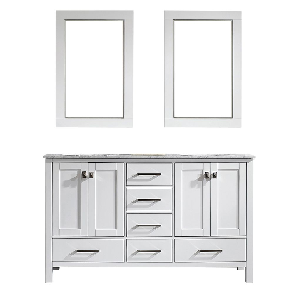 "60"" Double Vanity in White with Carrara White Marble Countertop With Mirror"