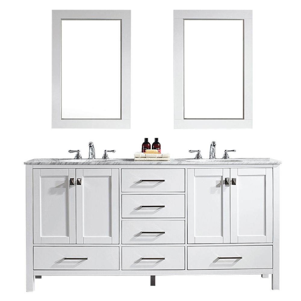 "72"" Double Vanity in White with Carrara White Marble Countertop With Mirror"