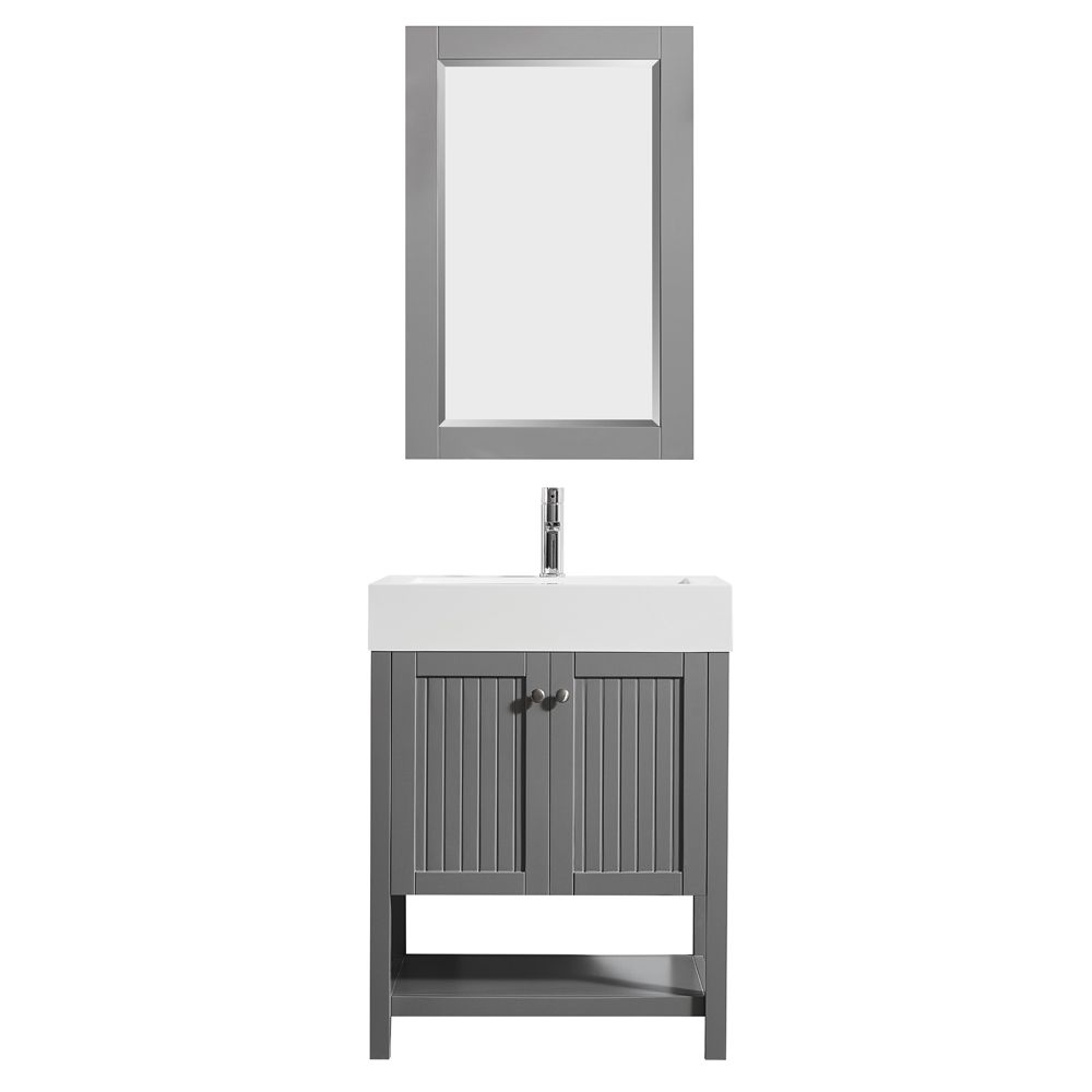 "28"" Single Vanity in Grey with Acrylic under-mount Sink With Mirror"