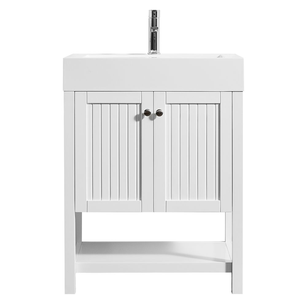 """28"""" Single Vanity in White with Acrylic under-mount Sink With Mirror"""