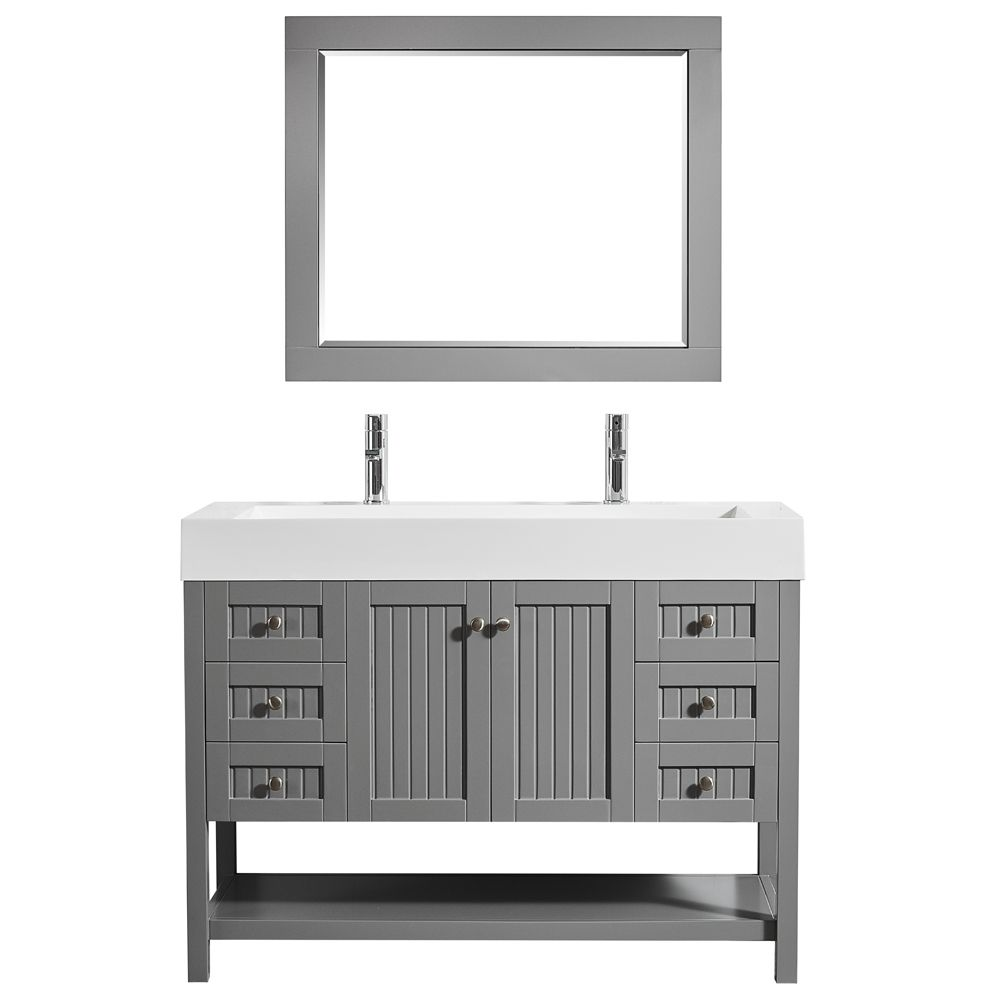 "48"" Single Vanity in Grey with Acrylic under-mount Sink With Mirror"