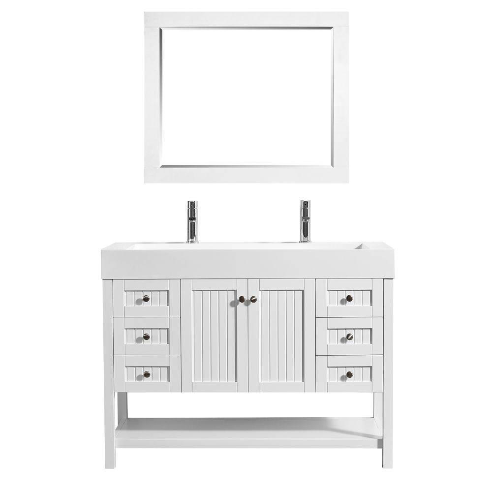 "48"" Single Vanity in White with Acrylic under-mount Sink With Mirror"