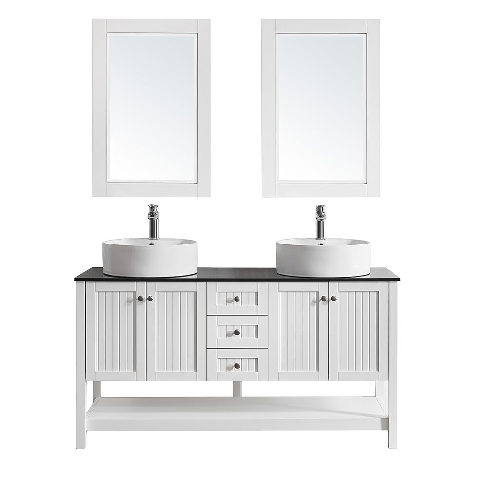 "60"" Double Vanity in White with Glass Countertop with White Vessel Sink With Mirror"
