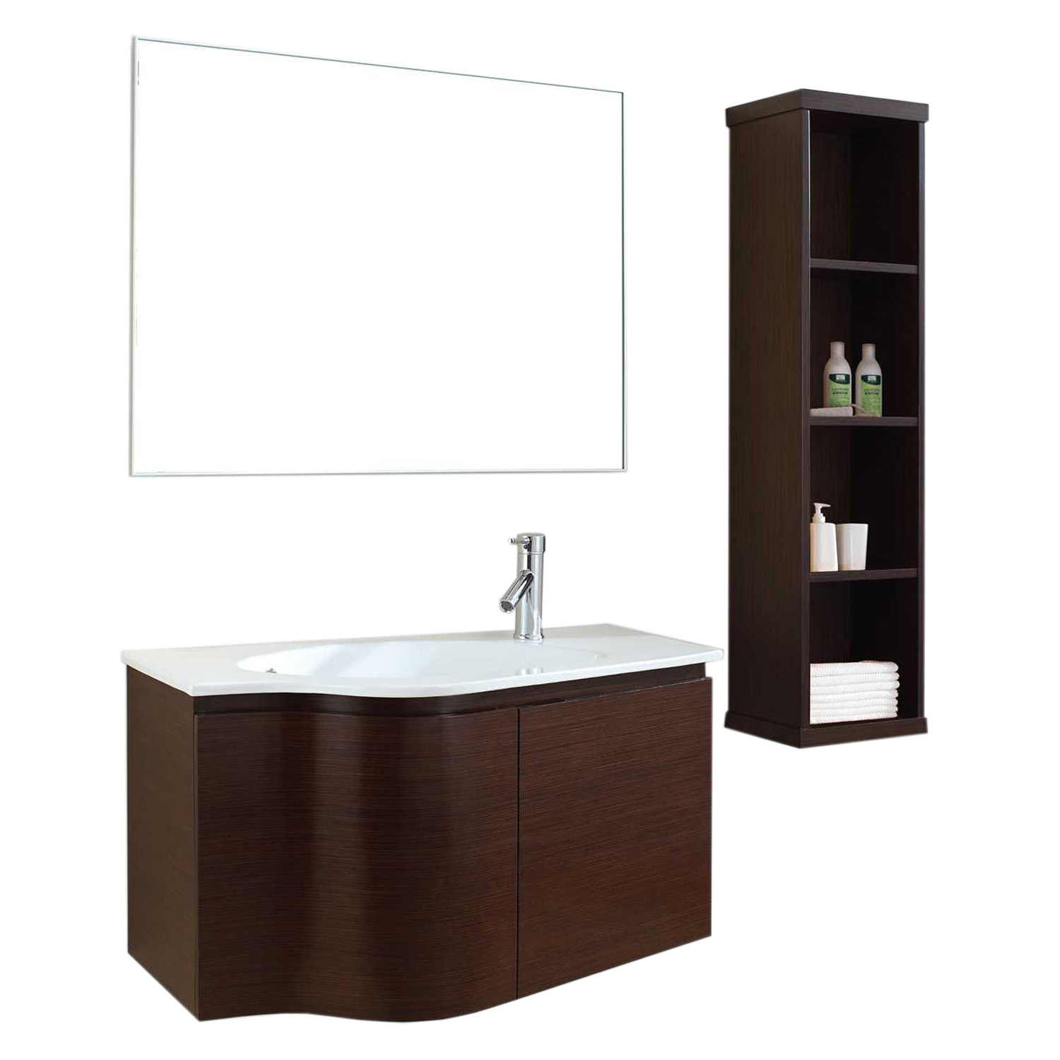 "36"" Single Bath Vanity in Walnut with White Ceramic Top and Round Sink with Mirror"