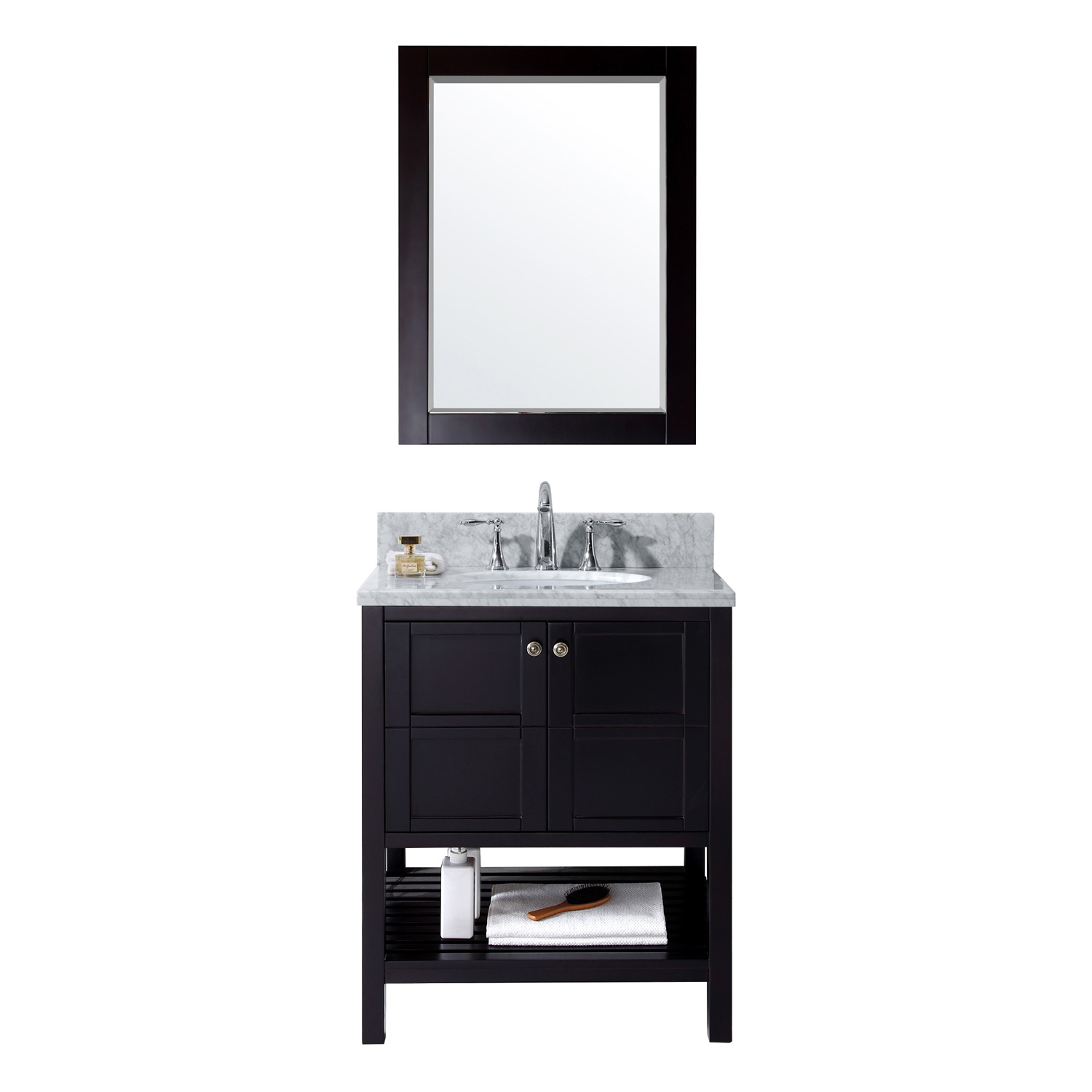 "30"" Single Bath Vanity in Espresso with Top, Sink and Mirror Options"