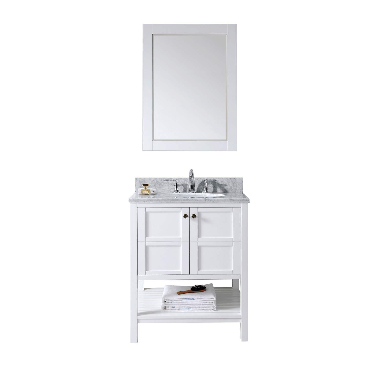 "30"" Single Bath Vanity in White with Top, Sink and Mirror Options"