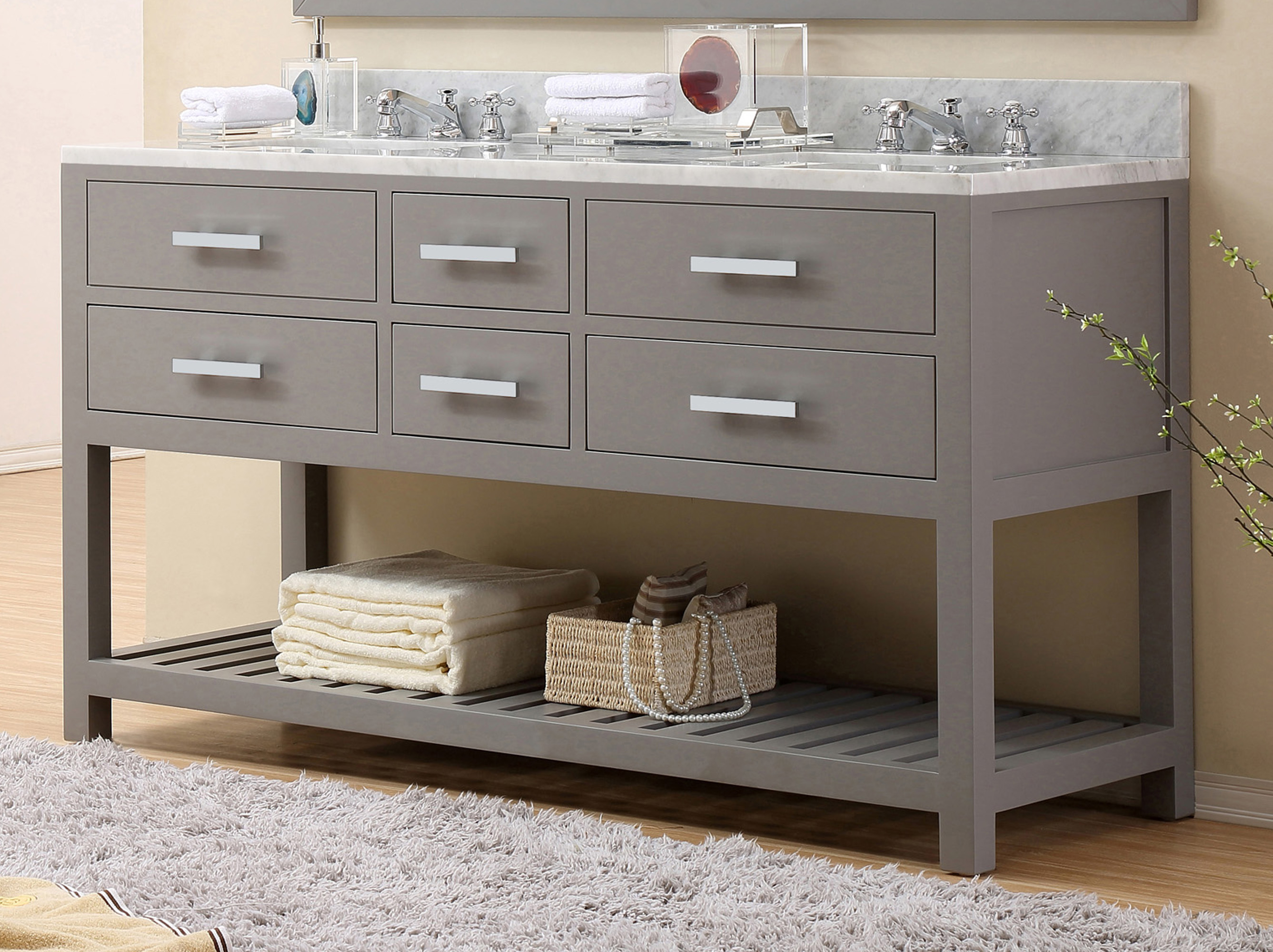 "60"" Cashmere Grey Double Sink Bathroom Vanity"
