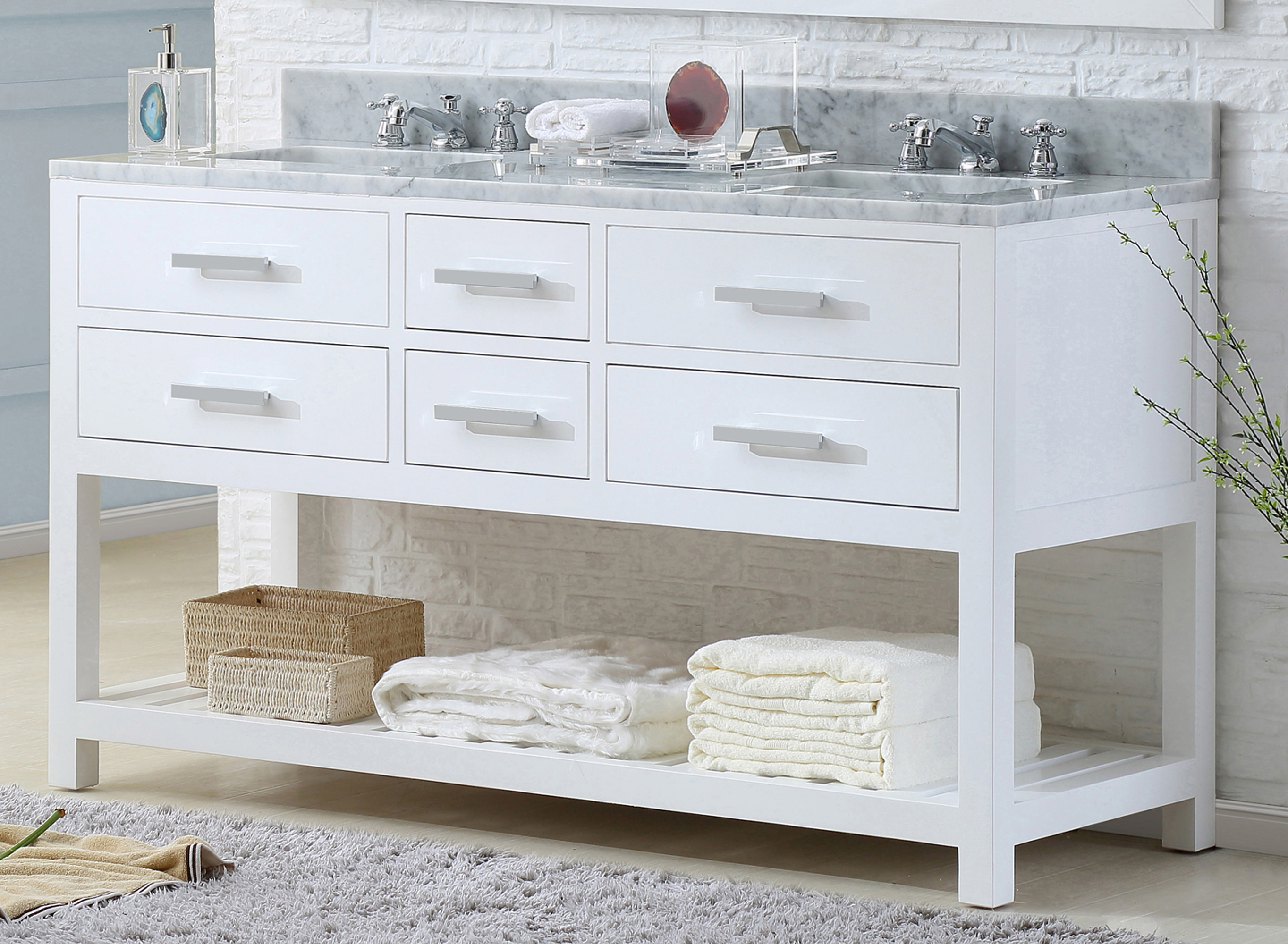 "60"" Pure White Double Sink Bathroom Vanity"