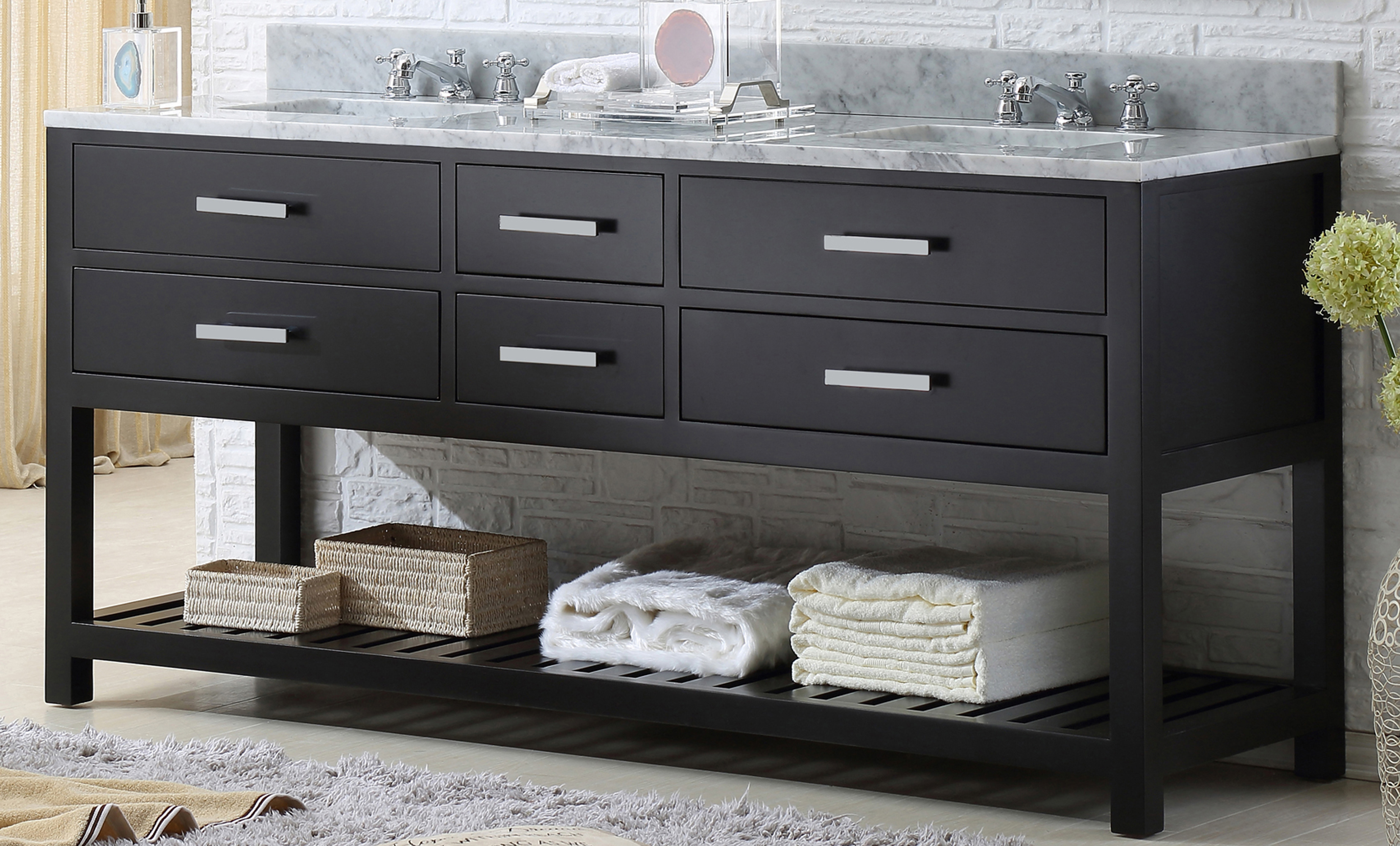 "72"" Espresso Double Sink Bathroom Vanity"