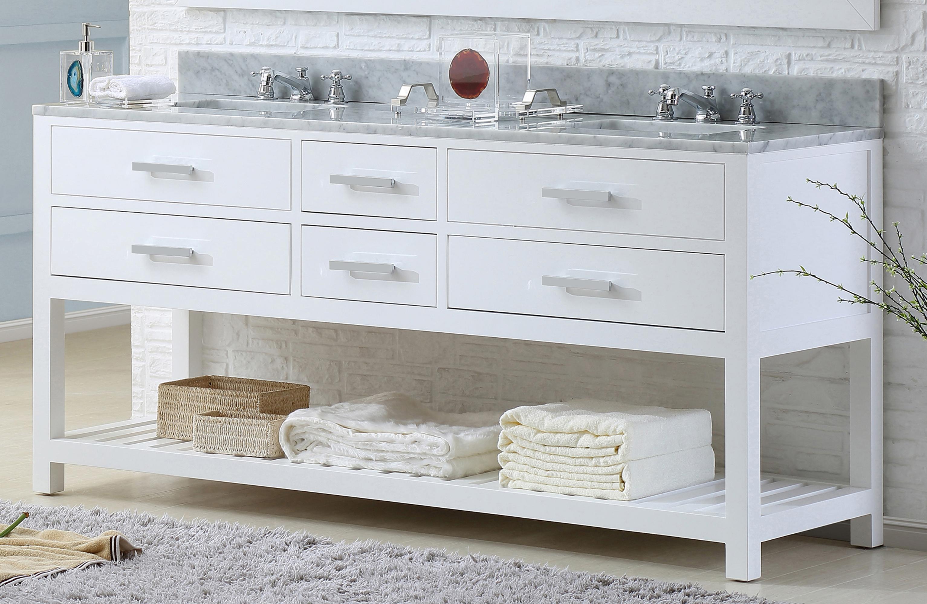 """72"""" Pure White Double Sink Bathroom Vanity"""