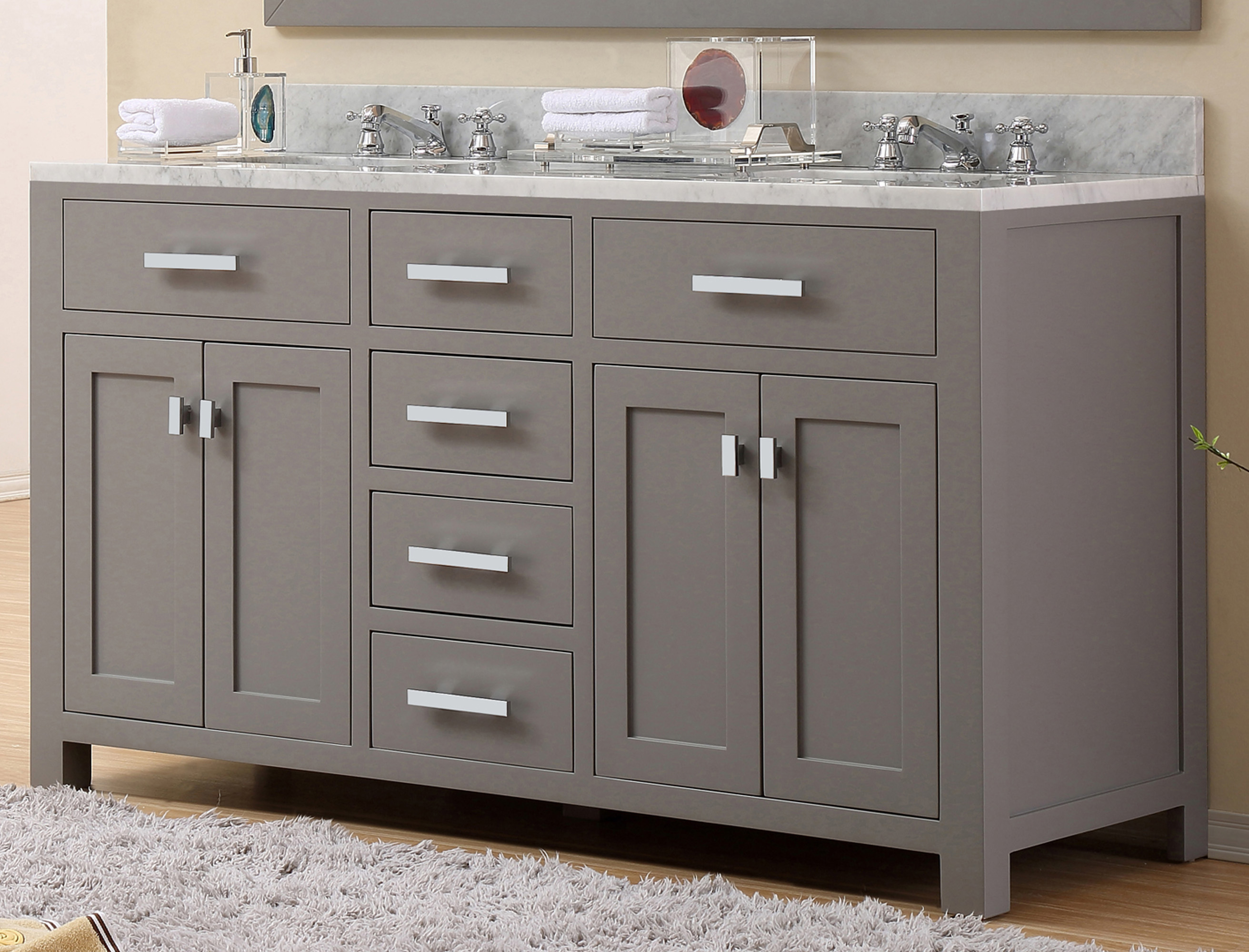 "60"" Cashmere Grey Double Sink Bathroom Vanity with White Carrara Marble Top"