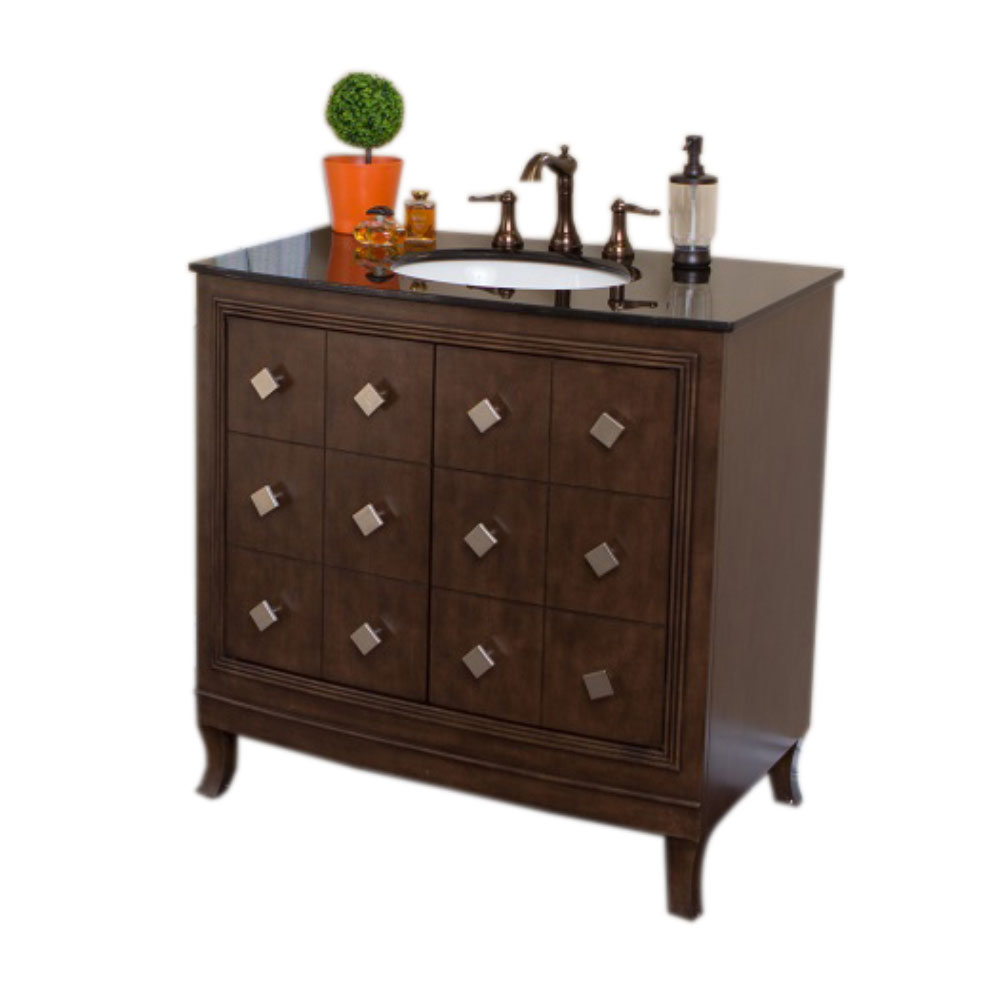 "The Bella Collection 36"" Single Sink Vanity Wood Sable Walnut"