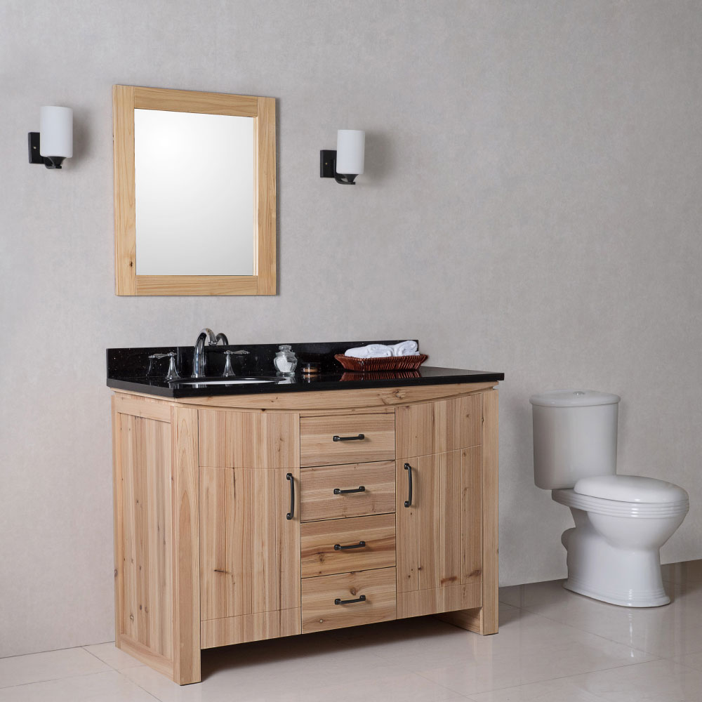 Captivating The Bella Collection 48 Inches In Single Sink Wood Vanity Solid Fir Natural  With Counter Top