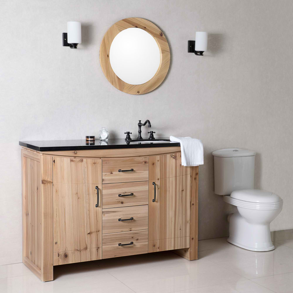 "The Bella Collection 48"" in Single Sink Vanity Solid Fir Natural in Granite And Marble Counter Top Options"