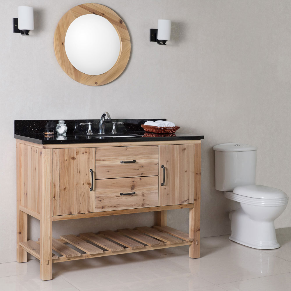 "The Bella Collection 48"" in Single Sink Vanity Solid Fir Natural in Two Counter Top Option"