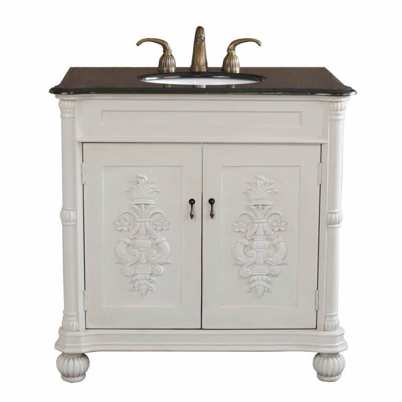 The Bella Collection 36 inch White Bathroom Single Vanity Black Granite Countertop