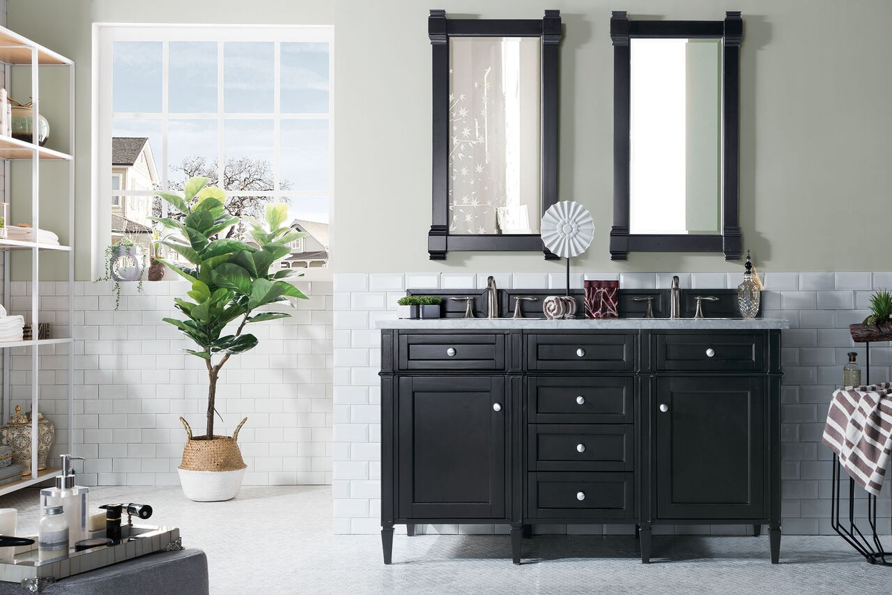 "James Martin Brittany Collection 60"" Double Vanity, Black Onyx"