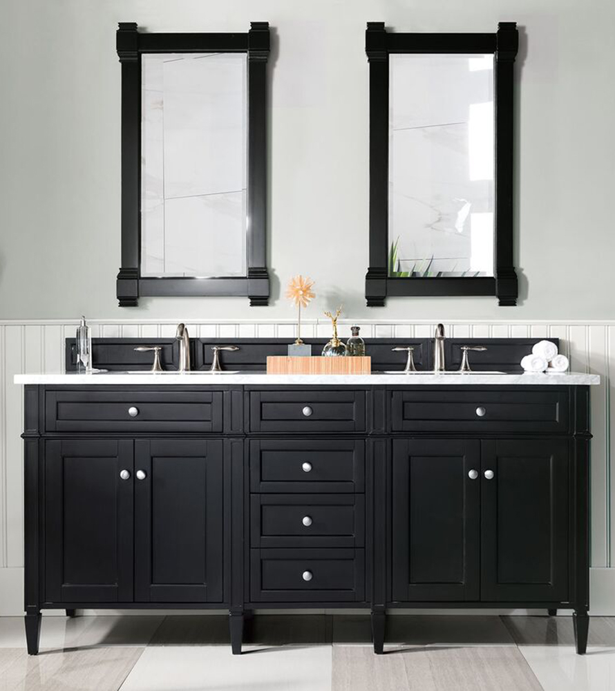 "James Martin Brittany Collection 72"" Double Vanity, Black Onyx"
