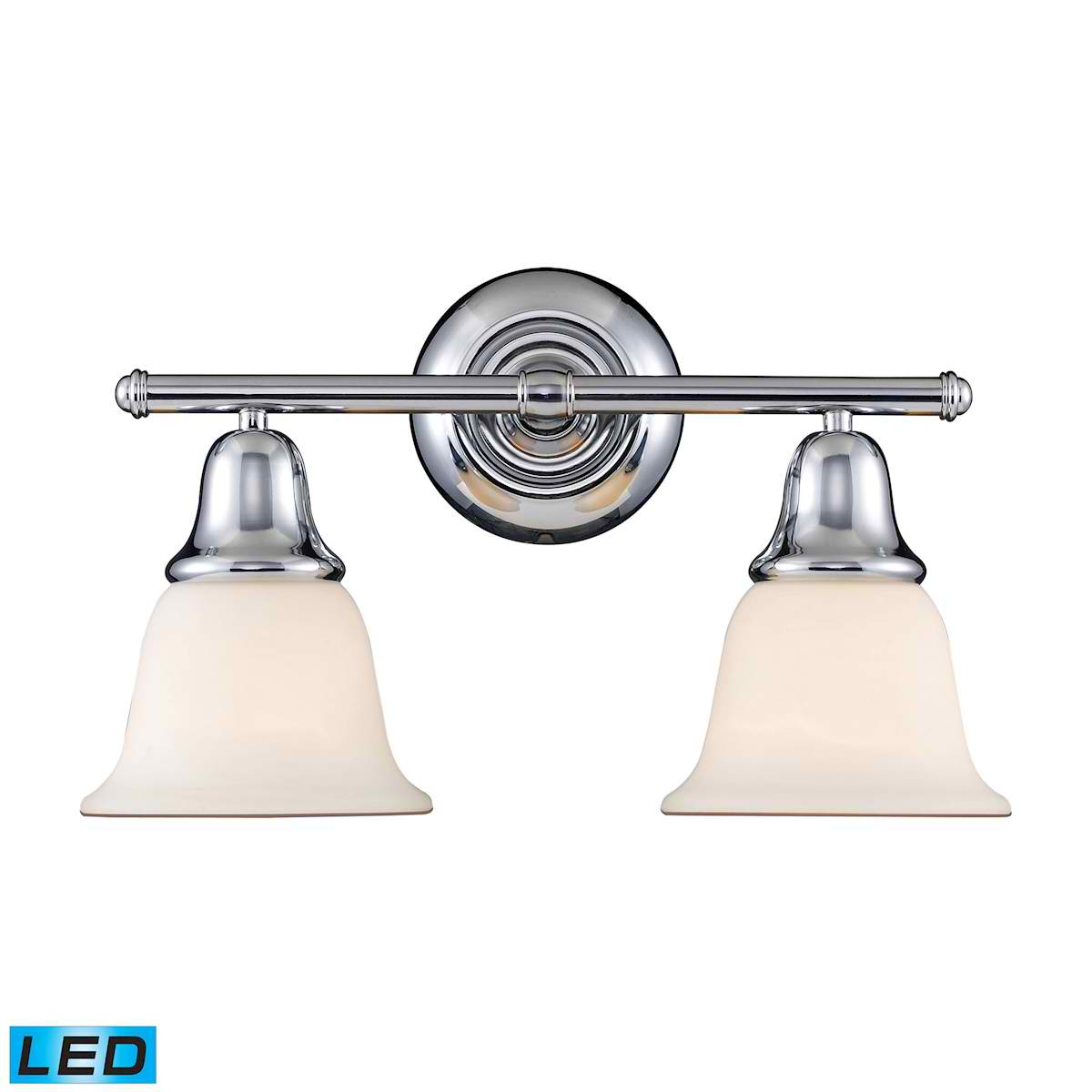 Berwick 2-Light Vanity in Polished Chrome - LED, 800 Lumens (1600 Lumens Total) with Full Scale Dimm