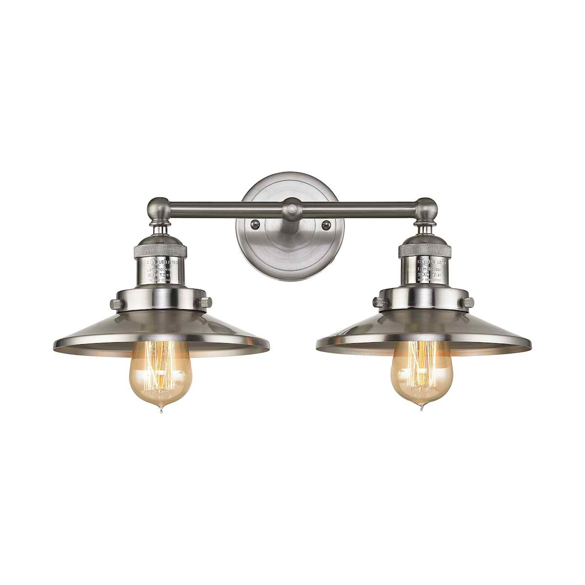 English Pub 2 Light Vanity in Satin Nickel