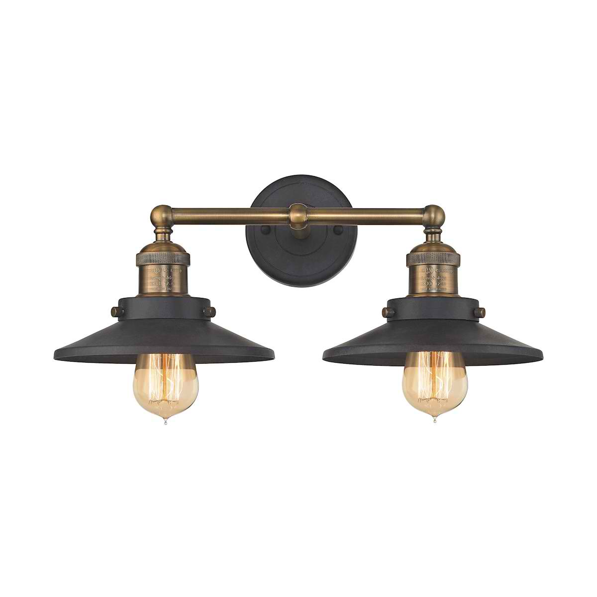 English Pub 2 Light Vanity in Tarnished Graphite and Antique Brass