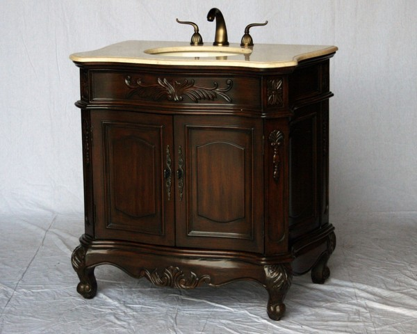 "34"" Adelina Antique Style Single Sink Bathroom Vanity in Walnut Finish with Beige Stone Countertop"