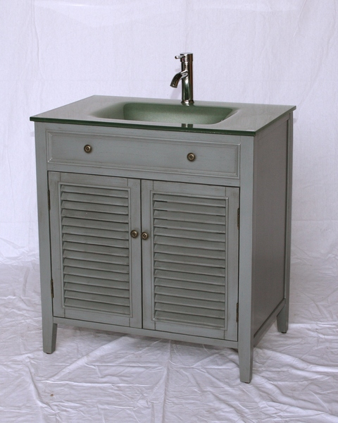 "32"" Adelina Cottage Style Single Sink Bathroom Vanity in Grey Finish with Tempered Glass Countertop"