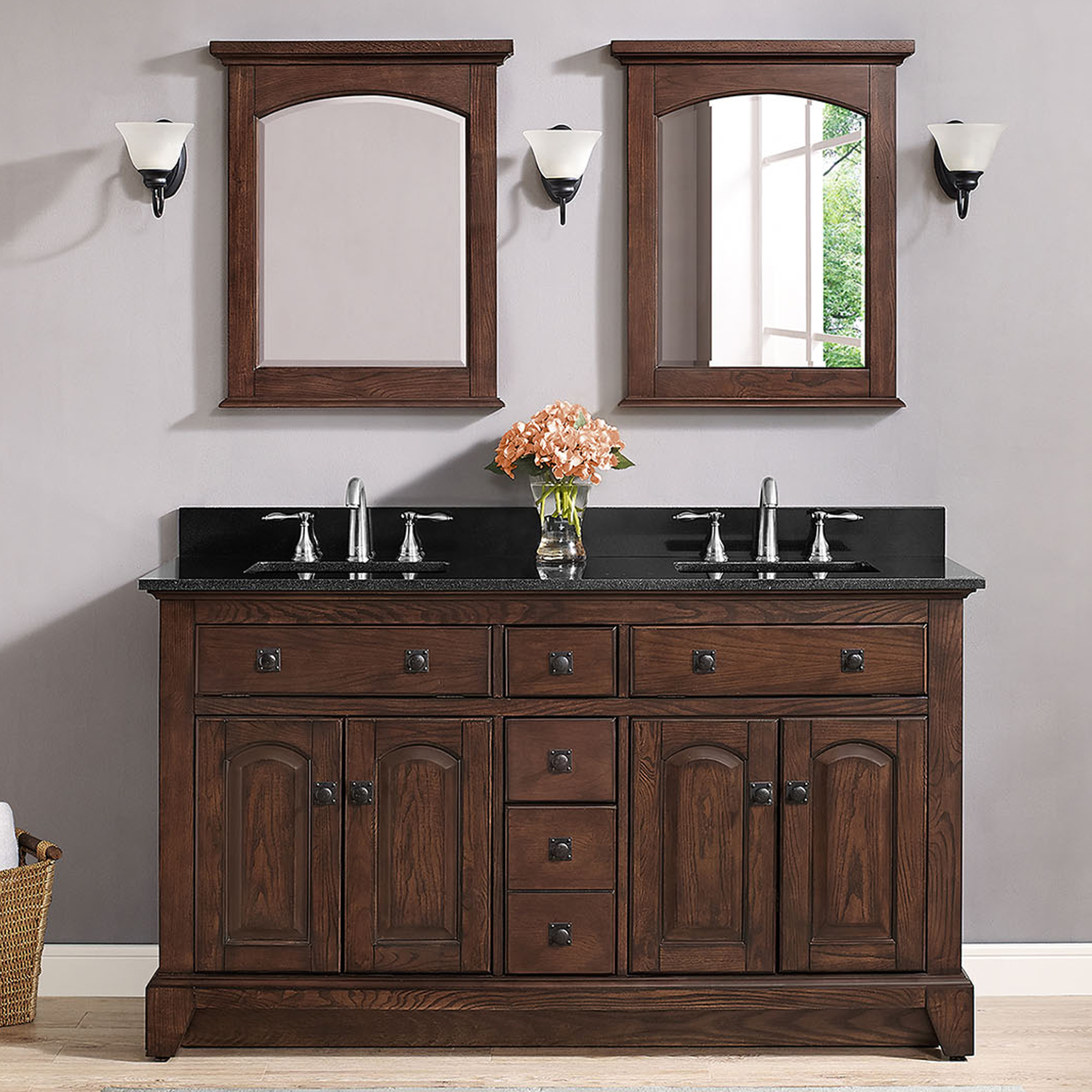 "60"" Traditional Bathroom Vanity - English Chestnut Finish with Top and Mirror Options"